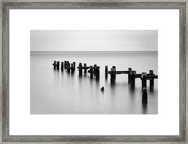 Old Pilings Black And White Framed Print