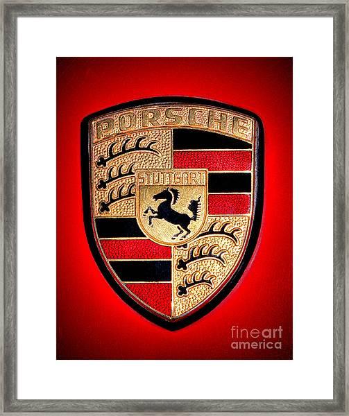 Old Porsche Badge Framed Print