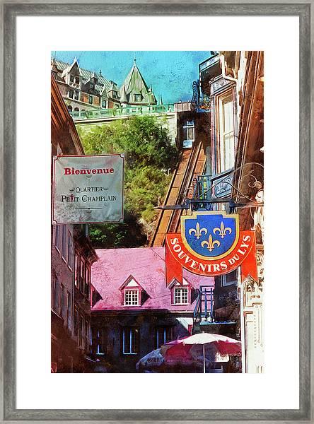 Old Quebec City Funicular Framed Print