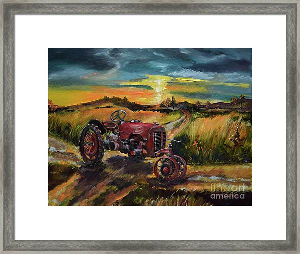 Old Red At Sunset - Tractor Framed Print