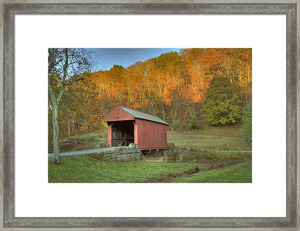 Old Red Or Walkersville Covered Bridge Framed Print