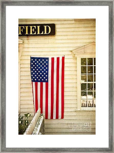 Old Rugged Field Flag Framed Print