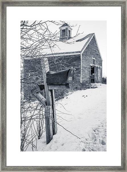 Old Rural Mailbox In Front Of An Old Barn Framed Print