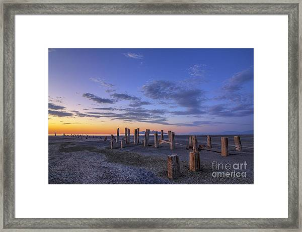 Old Saltair Posts At Sunset Framed Print