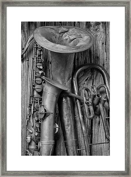 Old Sax And Tuba Framed Print