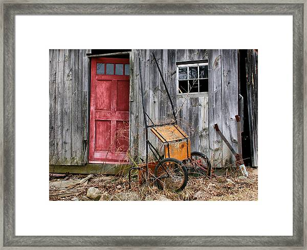 Old Shed Red Door And Pony Cart Framed Print