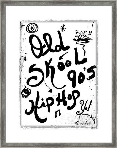 Framed Print featuring the drawing Old-skool 90's Hip-hop by Rachel Maynard