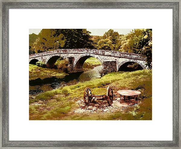 Old Stone Bridge In France Framed Print