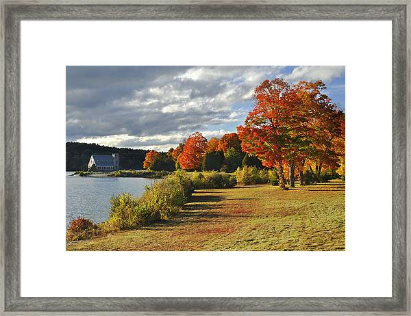 Old Stone Church Autumn Glow Framed Print