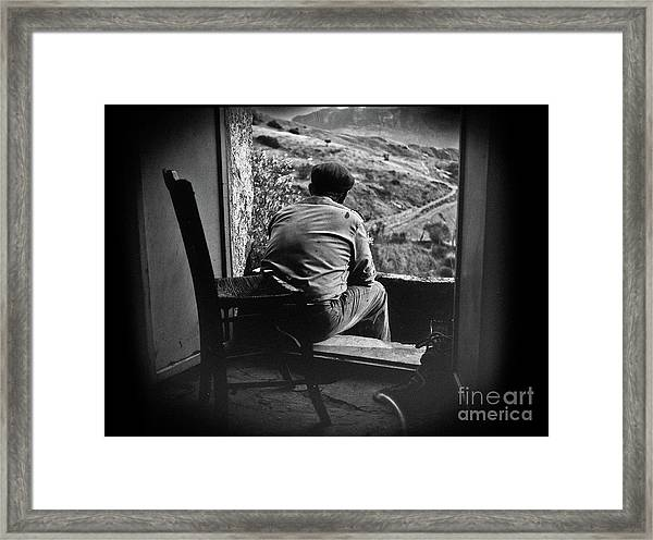 Old Thinking Framed Print