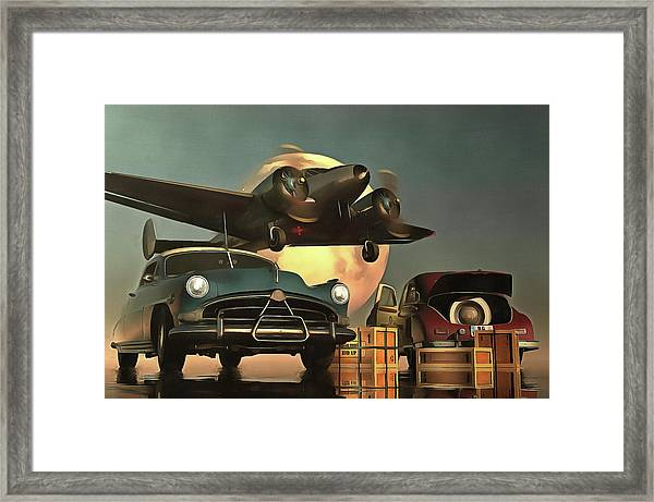 Framed Print featuring the painting Old-timers With Airplane by Jan Keteleer