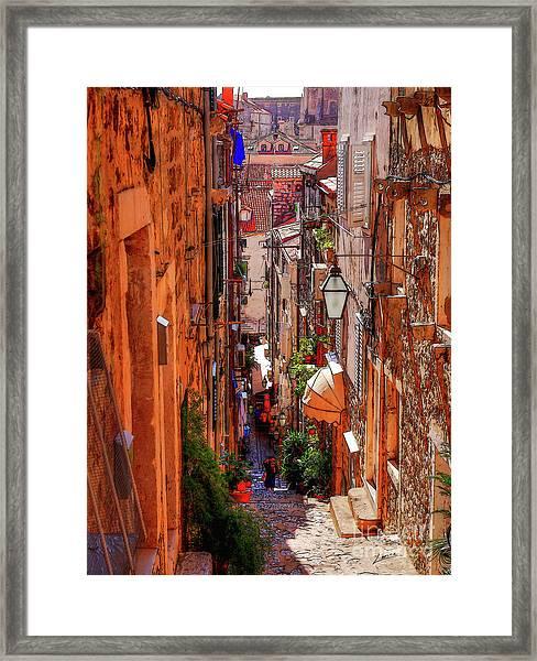 Old Town Dubrovniks Inner Passages Framed Print