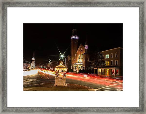 Old Town Hall Light Trails Framed Print
