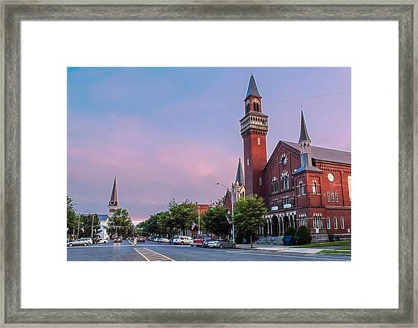 Old Town Hall Sunset Sky Framed Print