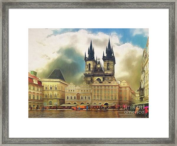 Old Town Square Prague In The Rain Framed Print