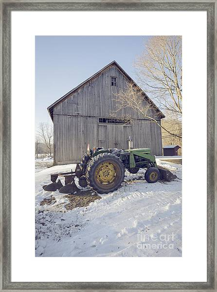 Old Tractor By The Barn Winter Etna Framed Print
