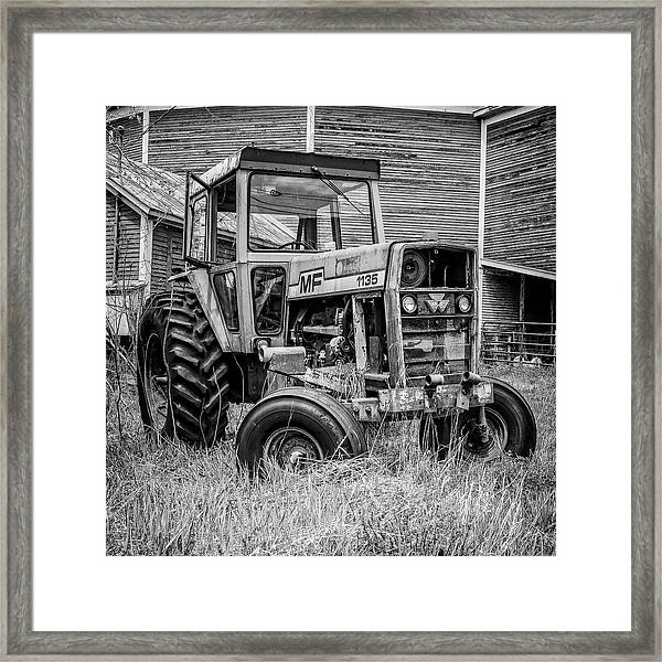 Old Vintage Tractor On A Farm In New Hampshire Square Framed Print