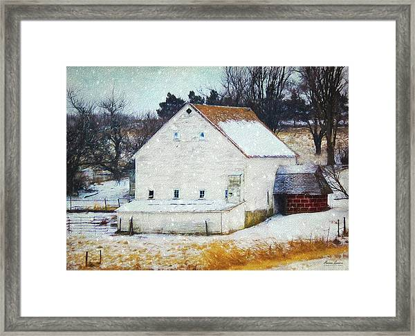 Old White Barn In Snow Framed Print