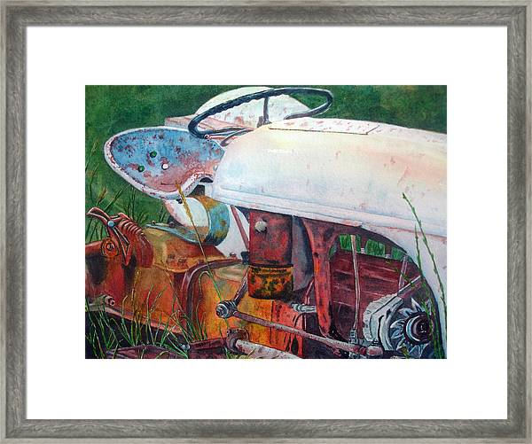 Old White Tractor Out To Pasture Framed Print by Rosie Phillips