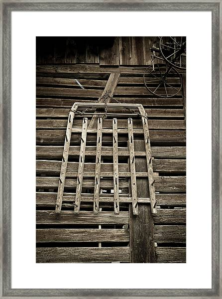 Old Wood Barn Detail Framed Print by Frank Tschakert