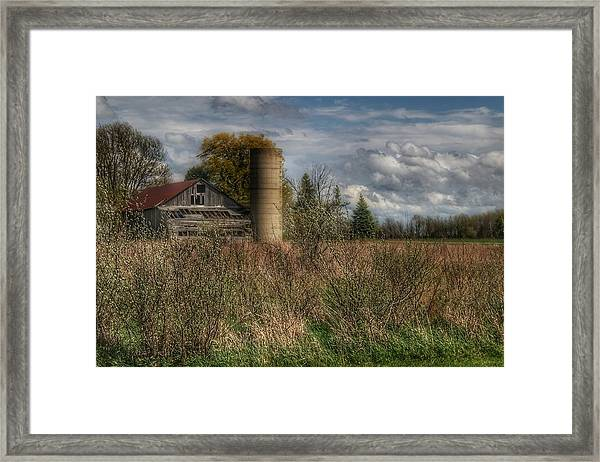 0034 - Old Wooden Barn And Silo Framed Print