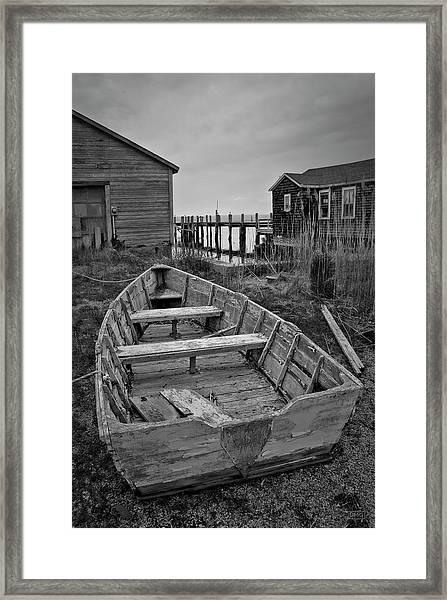 Old Wooden Boat Bw Framed Print