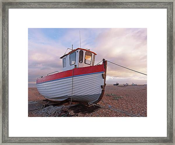 Old Wooden Fishing Boat Home By Sunset Framed Print