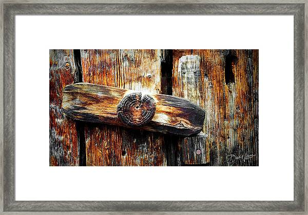Framed Print featuring the photograph Old Wooden Latch by David A Lane