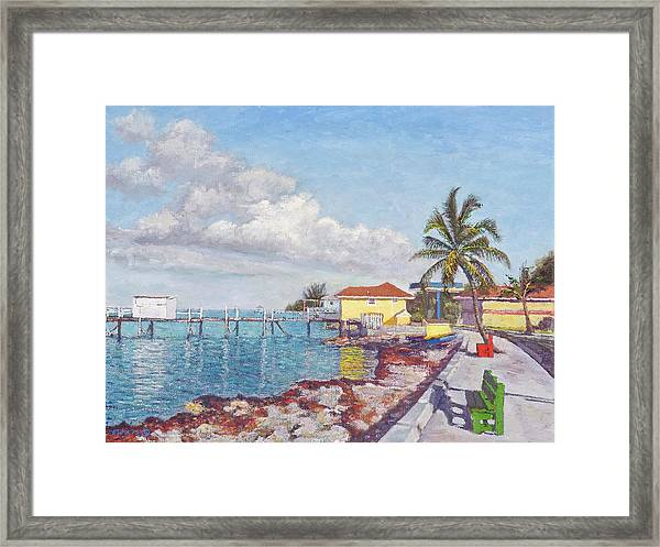 Old Yellow Gas Station By The Waterfront - Cooper's Town Framed Print
