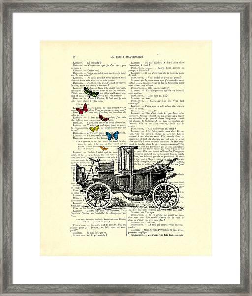 Oldtimer And Butterflies Framed Print