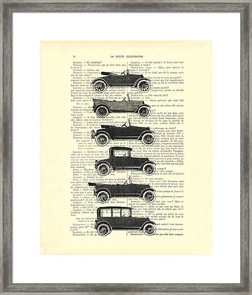 Collection Oldtimers In Black And White Vintage Illustration Framed Print