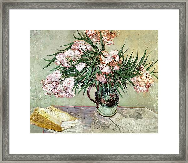 Oleanders And Books Framed Print