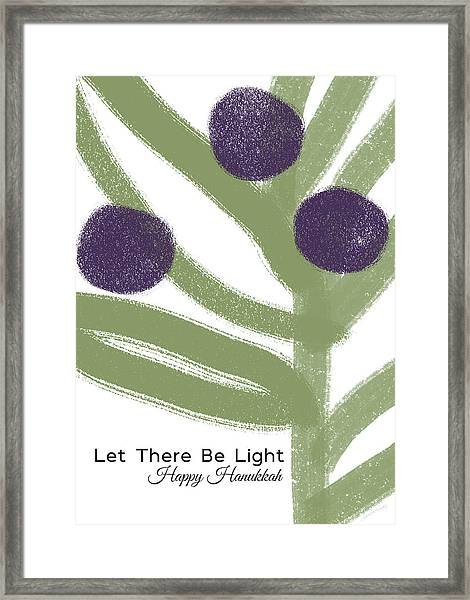 Olive Branch Hanukkah Card- Art By Linda Woods Framed Print