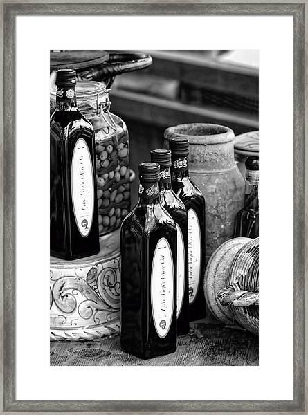Olives And Oil Framed Print