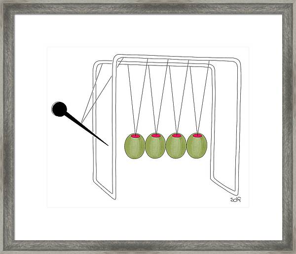 Olives And Toothpick On Newtons Cradle Framed Print