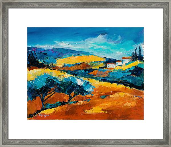 Framed Print featuring the painting Oliviers En Provence by Elise Palmigiani