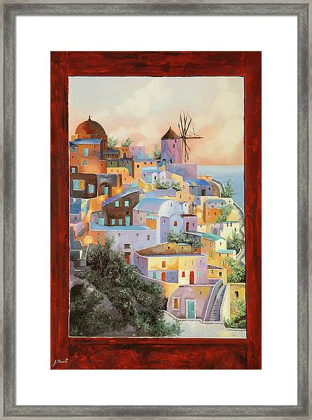 oltre la finestra il mulino a Santorini Framed Print