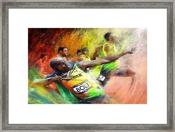 Olympics 100 M Gold Medal Usain Bolt Framed Print