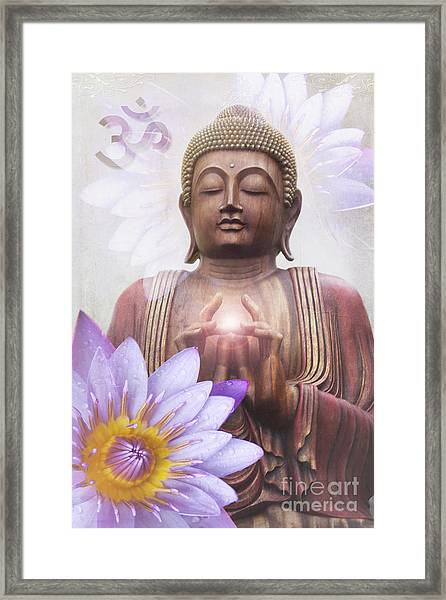 Om Mani Padme Hum - Buddha Lotus Framed Print