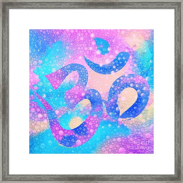Om Symbol, Light Pink And Blue Pastels, 3d Water Mist Framed Print