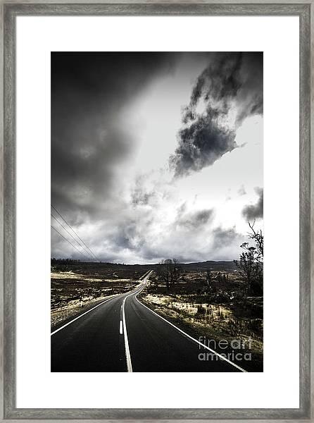 On A Dark Deserted Highway Framed Print