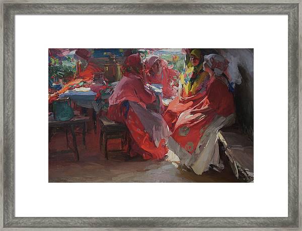 On A Visit Framed Print by Abram Arkhipov