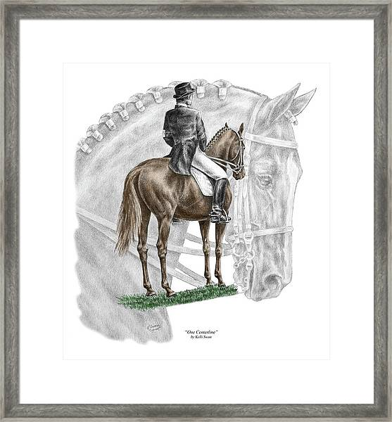 On Centerline - Dressage Horse Print Color Tinted Framed Print