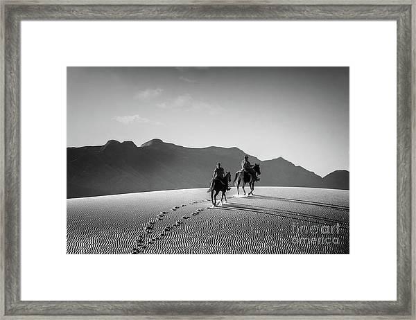 On Horseback At White Sands Framed Print