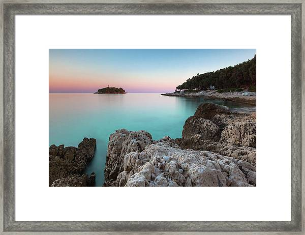 On The Beach In Dawn Framed Print