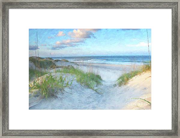 On The Beach Watercolor Framed Print