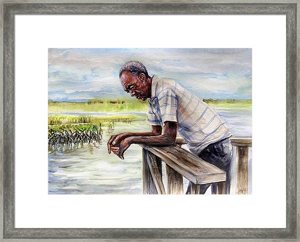 Framed Print featuring the painting On The Dock by Katerina Kovatcheva