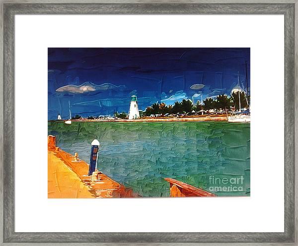 On The Pier At Port Framed Print by Deborah Selib-Haig DMacq