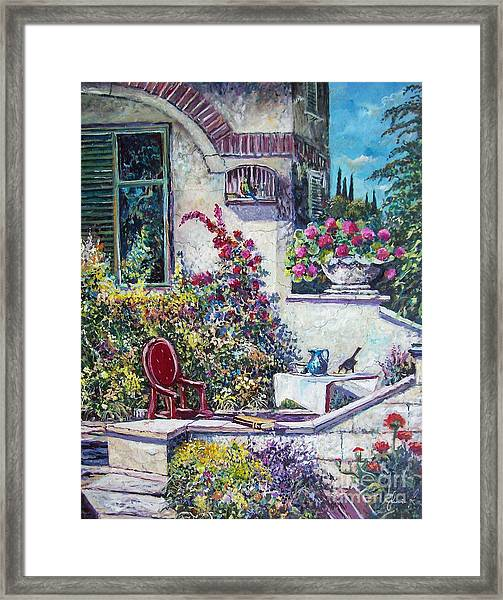 On The Porch Framed Print