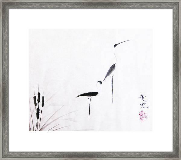 On Typha Pond Framed Print